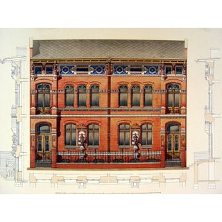 Antique 1890s Architectural Detail Lithograph