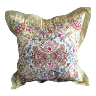 Silk Embroidered Accent Pillow Cover