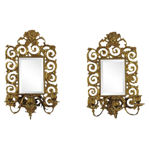Baroque-Style Girandole Mirrors - A Pair - Image 1 of 4