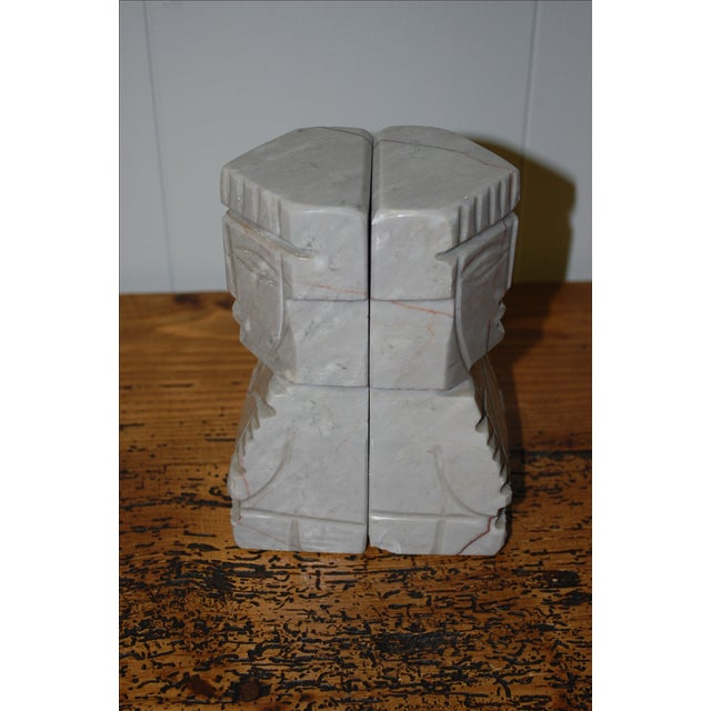 1950s Gray Marble Aztec Bookends - Image 7 of 7
