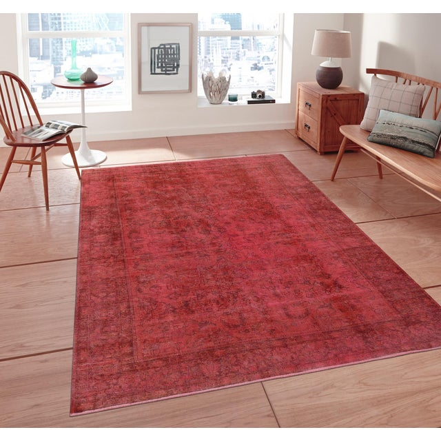 "Pink Vintage Overdyed Rug - 8' 1"" X 10' 4"" - Image 3 of 3"