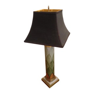 Painted Glass Column Lamp With Shade