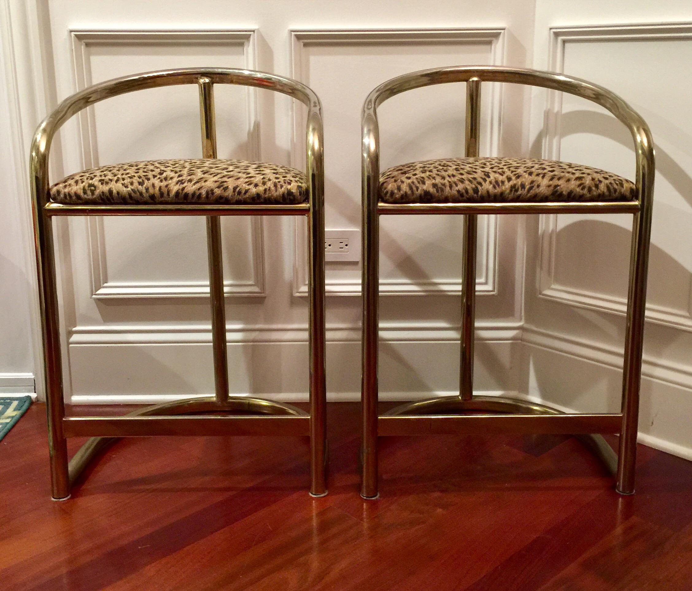 Hollywood Regency Leopad Print Counter Stools A Pair