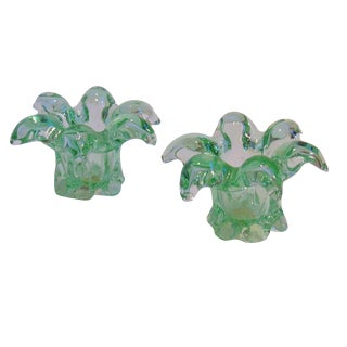 Mid-Century Murano Candle Holders - A Pair