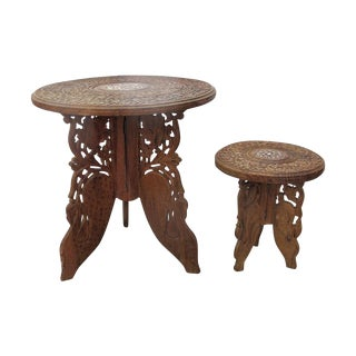 Vintage Bohemian Wooden Folding Tables - Pair