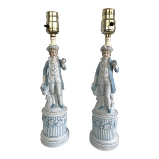 Ceramic Colonial Men Lamps by Duray - a Pair