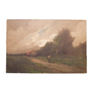 19th Century Farm Landscape Painting