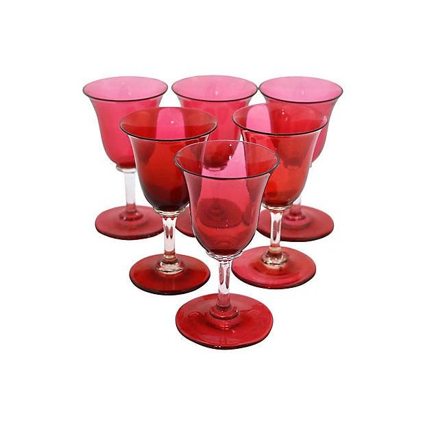 Image of Antique Hand-Blown Cranberry Tulip Stems - Set of 6