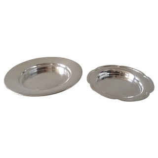 Silverplated Wine Bottle Plates - Pair