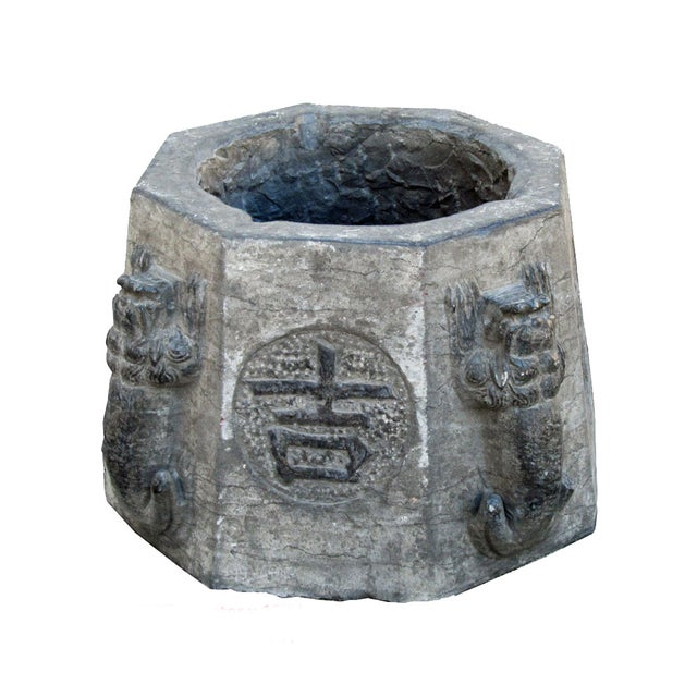 Carved Stone Base : Vintage chinese octagon stone carved garden base chairish