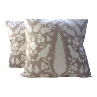 """Schumacher Pillows in Fawn and Ivory """"Chenonceau"""" Linen - a Pair"""