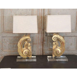 Pair of Lamps Fashioned from Gilded Italian Fragments