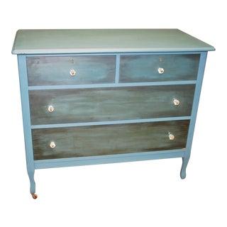 Vintage Blue-Painted Wood Dresser