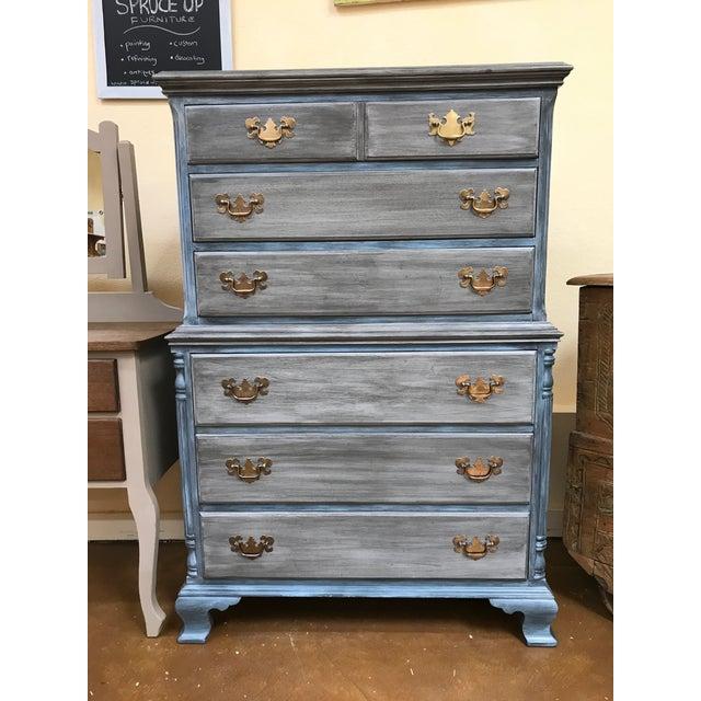 Blu & Gray Tall Boy Dresser - Image 9 of 9