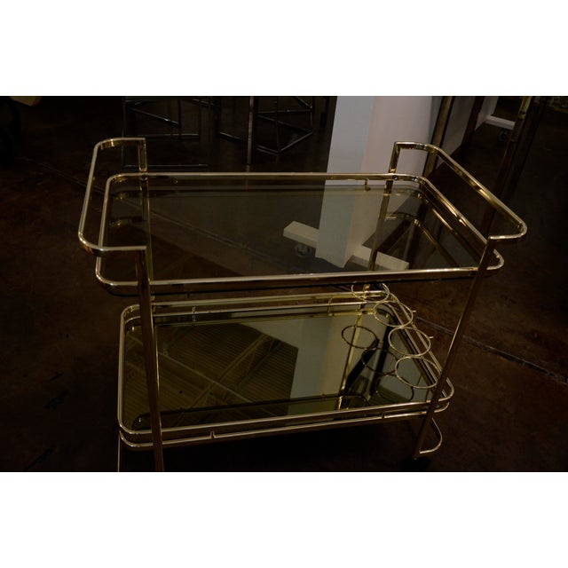 Gold Metal, Glass and Mirror Two-Tier Bar, Tea Cart or Serving Cart - Image 8 of 8