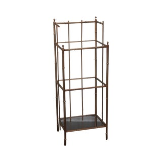 Vintage Gilt Metal Faux Bamboo 3 Tier Etagere