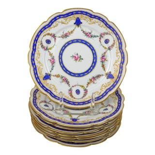 Antique Floral Porcelain Plates, S/8