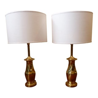 Vintage Brass Rembrandt Table Lamps - A Pair