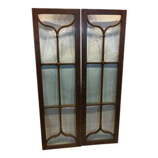 Edwardian Mahogany & Beveled Glass Doors- A Pair