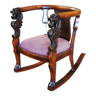 Antique Wood Rocking Chair with Carved Griffins