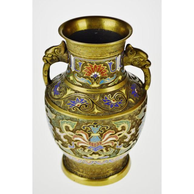 Vintage Japanese Brass Champleve Urn Shaped Vase with Figural Handles - Image 11 of 11