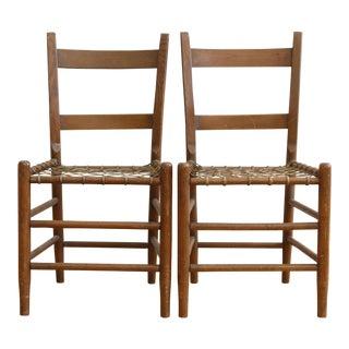 19th C Vintage Rustic Primitive Rawhide Woven Chair - A Pair