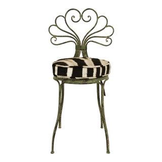 French Style Zebra Hide Cushion Garden Chair