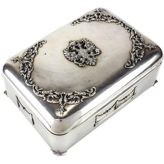 19th Century 84 Silver Jewelry Box Russian Imperial Eagle Double-Headed Coat of Arms