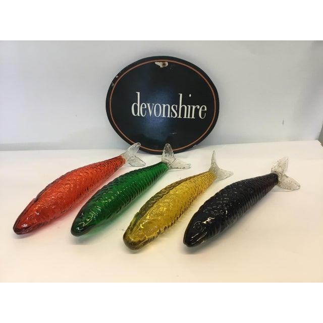 Image of Multicolored Decorative Glass Fish - Set of 4