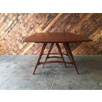 Image of Mid-Century Drop Leaf Sculpted Walnut Dining Table
