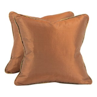Copper Ribbed Silk Pillows - Pair