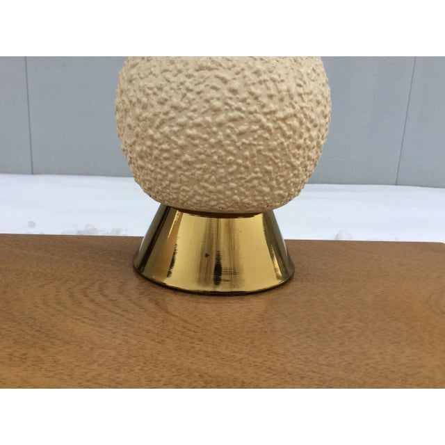 Image of 1960s Modern Brass & Ceramic Table Lamps - a Pair