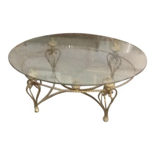 La Barge Hollywood Regency Oval Glass Coffee Table