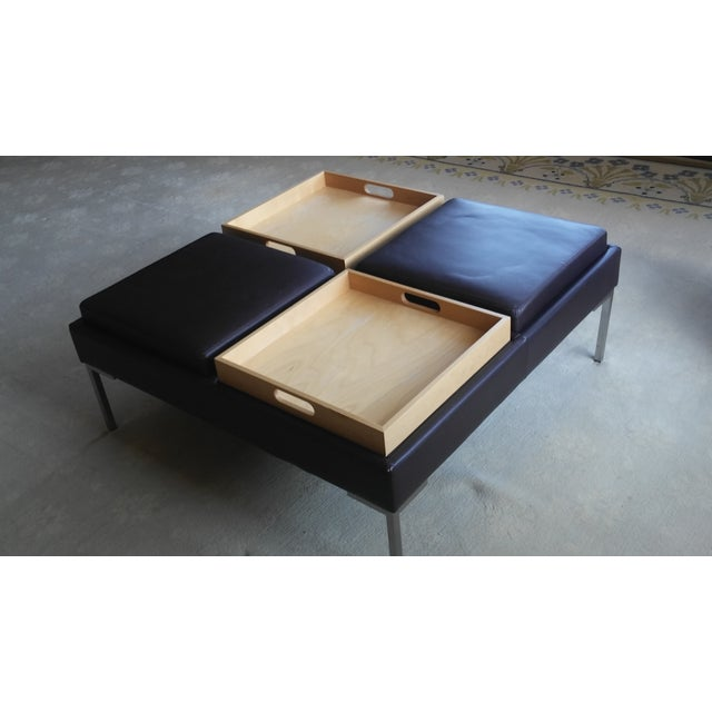 Image of Brown Leather Divided-Tray Top Coffee Table