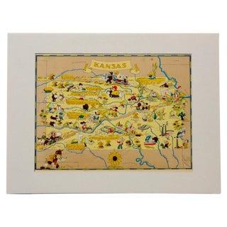 Vintage Map of Kansas, 1938