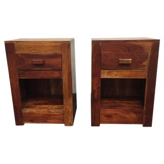 Wooden Nightstands Side Tables - A Pair