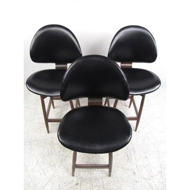 Mid-Century Modern Clamshell Bar Stools - Set of 3 - Image 4 of 11