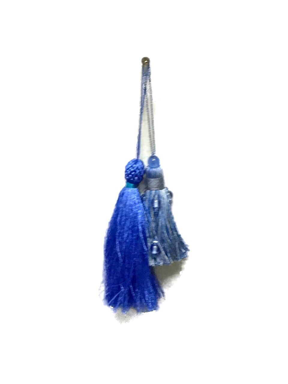Hollywood Regency Style Beaded Blue Tassels Chairish