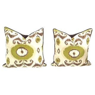 Vintage Linen Ikat Pillows - A Pair