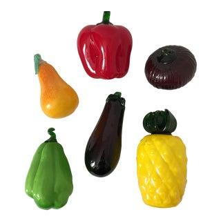 Italian Glass Vegetables & Fruit - Set of 6
