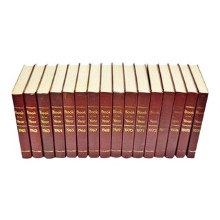 1961 - 1976 Britannica Book Of The Year Leather Bound Books - Set of 16