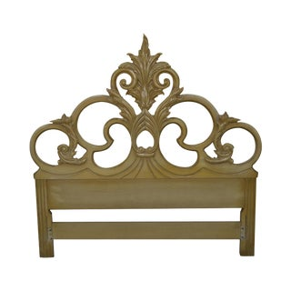 Vintage Queen Size Painted Rococo Style Headboard