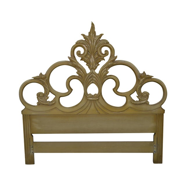 Vintage Queen Size Painted Rococo Style Headboard - Image 1 of 10