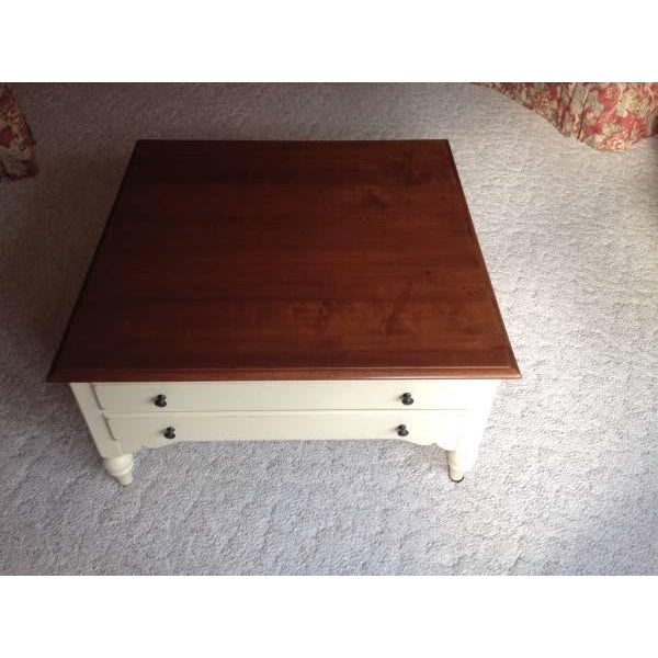Ethan Allen Coffee Table With Drawers: Ethan Allen Country Crossings Maple Coffee Table