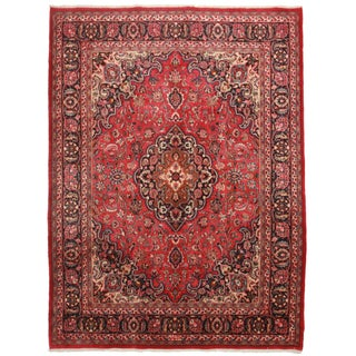 Hand Knotted Wool Persian Mashad Rug- 8'10 X 10'10