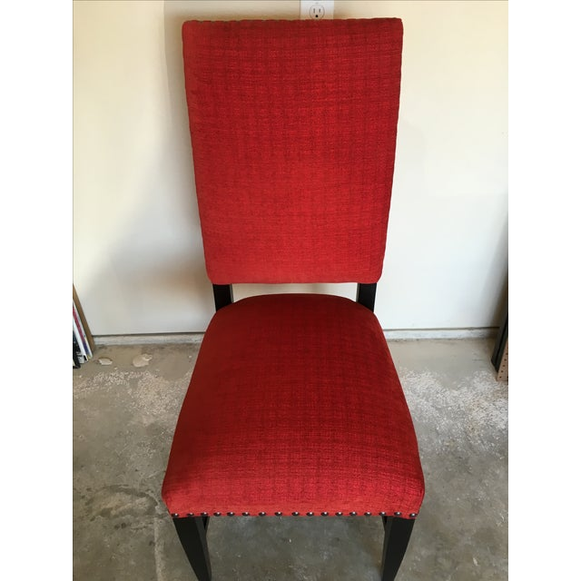 Transitional Red Chenille Dining Chairs - Set of 4 - Image 11 of 11