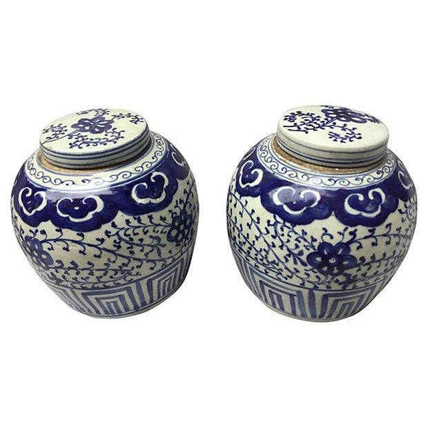 Chinese Hand-Painted Jars - Pair - Image 1 of 5