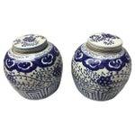 Image of Chinese Hand-Painted Jars - Pair