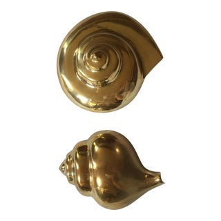 Vintage Brass Sea Shell Wall Hangings - A Pair