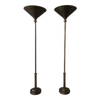 Art Deco Copper & Brass Uplighter Torchiere Floor Lamps- A Pair